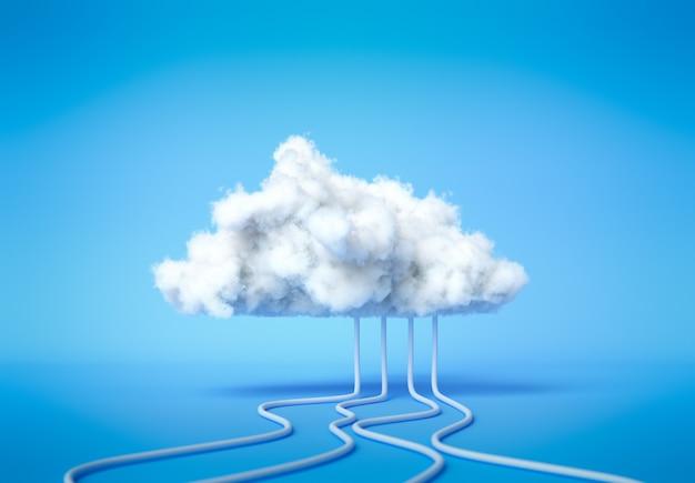 3d визуализация служба облачных вычислений, концепция хостинга технологии хранения облачных данных. белое облако с кабелями на синем фоне.