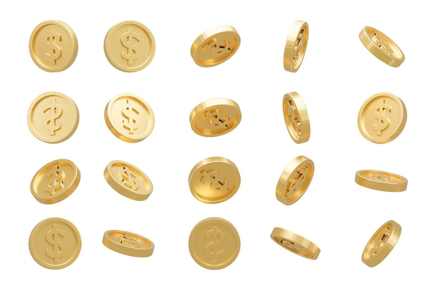 3d render. collection of dollar coins isolated on background in different positions.