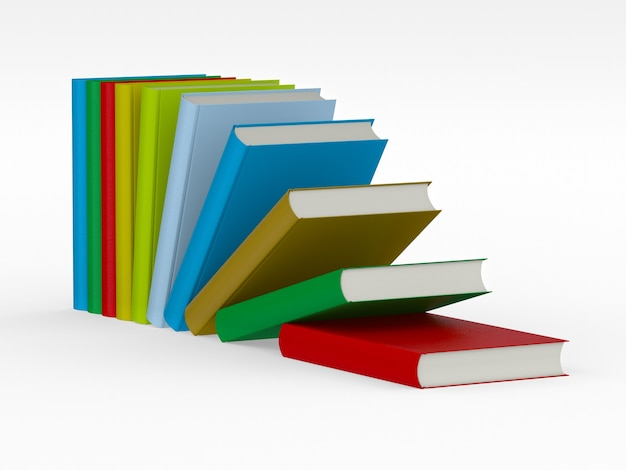 3d render colorful pile of books isolated on white background