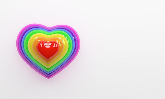 コピースペースと白い背景で隔離の3dレンダリングカラフルな虹の心