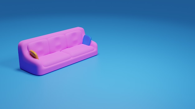 3d render of colorful stylized sofa and pillows