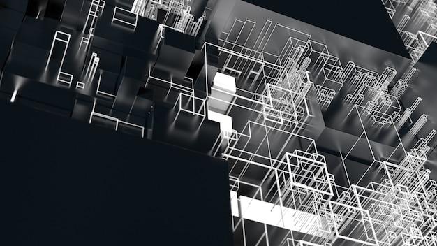 3d визуализация сложный абстрактный фон. концепция технологии. подробный куб для технологий, искусственного интеллекта или темы блокчейна.