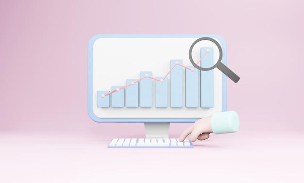 3d визуализация компьютера и пальца, нажимающего на клавиатуру с графиками и диаграммами на детском розовом фоне