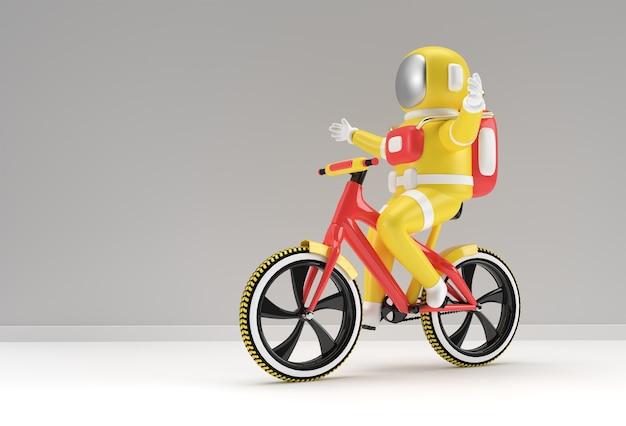 3d render concept of astronaut bicycle 3d art design illustration.