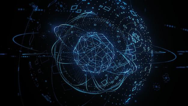 人工知能の3dレンダリングの概念。技術の背景。ワイヤーフレーム、粒子。
