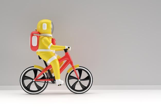 3d визуализация концепции астронавта велосипеда 3d-арт дизайн иллюстрации.