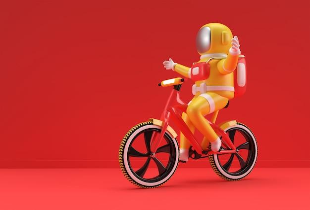 宇宙飛行士の自転車の3dレンダリングコンセプト3dアートデザインイラスト。
