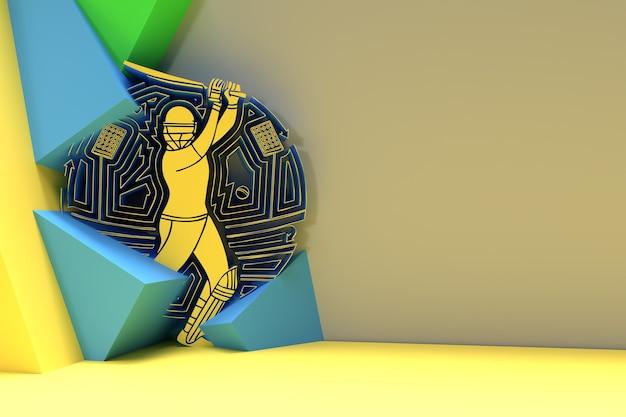 クリケットをするバッツマンの3dレンダリングコンセプト-チャンピオンシップ、3dアートデザインポスターイラスト。