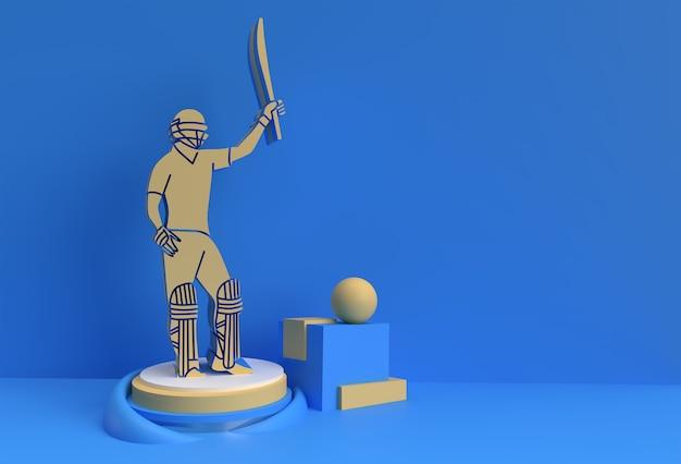 クリケットをするバッツマンの3dレンダリングコンセプト-ディスプレイチャンピオンシップトロフィーカップのシーン、3dアートデザインポスターイラスト。