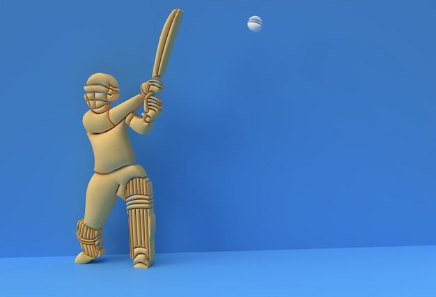 クリケットをする打者の3dレンダリングの概念-ディスプレイチャンピオンシップトロフィーカップのシーン、3dアートデザインポスターイラスト。