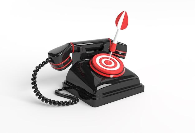 화살표와 대상 3d 아트 디자인 일러스트와 함께 오래 된 전화의 3d 렌더링 개념입니다.