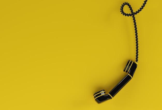 전화 수신기의 3d 렌더링 개념 3d 아트 디자인 일러스트 레이 션.