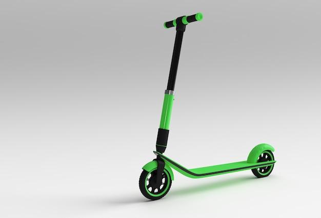 子供のためのシングルプッシュスクーターの3dレンダリングコンセプト3dアートデザインイラスト。