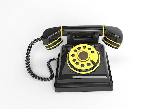 3d render concept of old telephone 3d art design illustration.