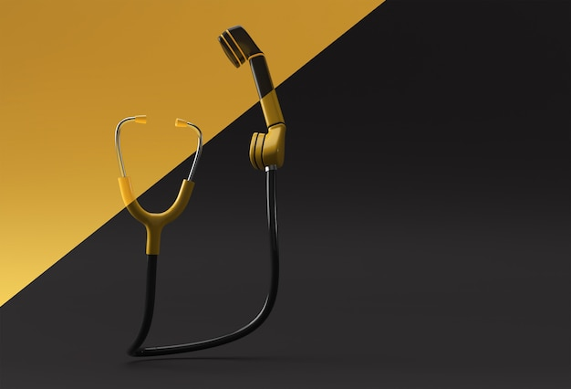 3d render concept of phone receiver with stethoscope concept of emergency call.