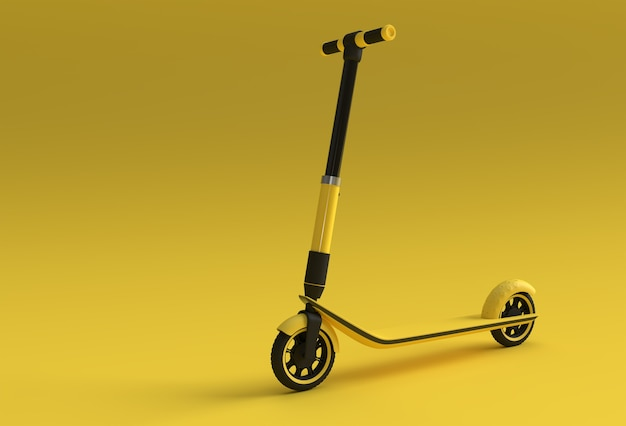 3d render concept of single push scooter for children 3d art design illustration.