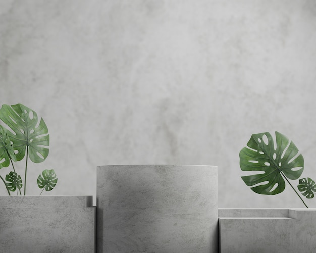 3d render concrete podium with monstera,abstract background, pedestal for brand product exhibition.