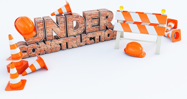 3d render under construction brick text with with traffic cones isolated on white background
