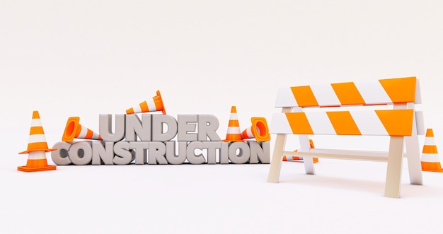 3d render of under construction with traffic cones isolated on white background