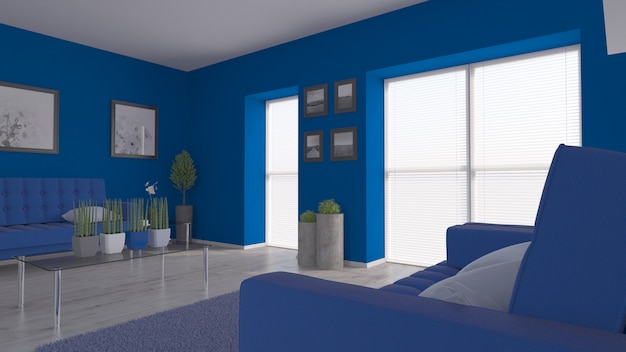 3d render of a contemporary room interior