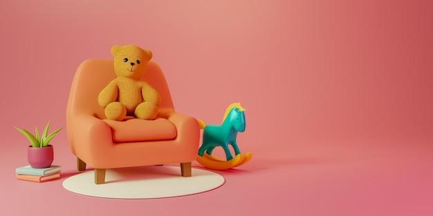 3 d レンダリングのサンゴの背景にコピー スペースがあり、椅子にかわいいテディベアが置かれ、より多くのおもちゃが付いています