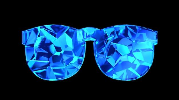 3d render cracked blue glasses sign