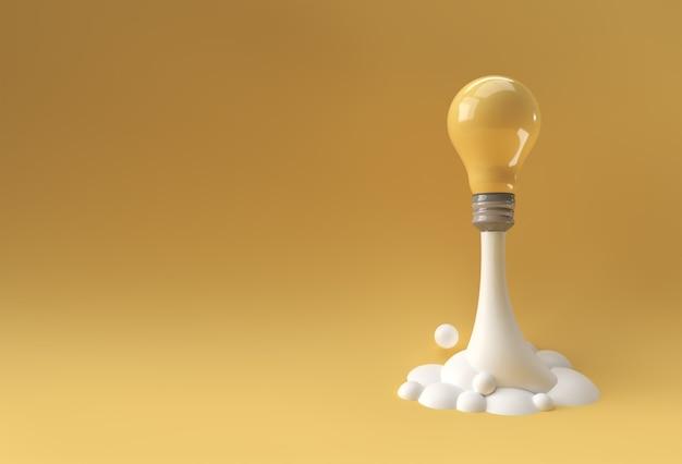 3d는 로켓의 형태로 창의적인 아이디어 발광 전구를 렌더링합니다.