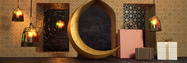 3d render of crescent moon, gift boxes and hanging illuminate