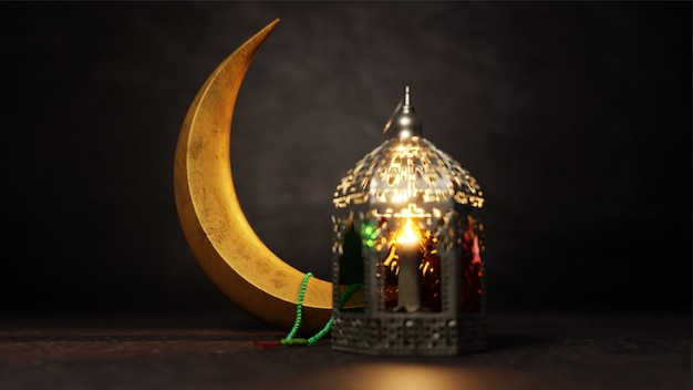 3d render of crescent moon and illuminated arabic lantern