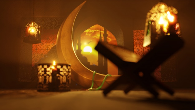 3d render of crescent moon, illuminated lanterns and rehal