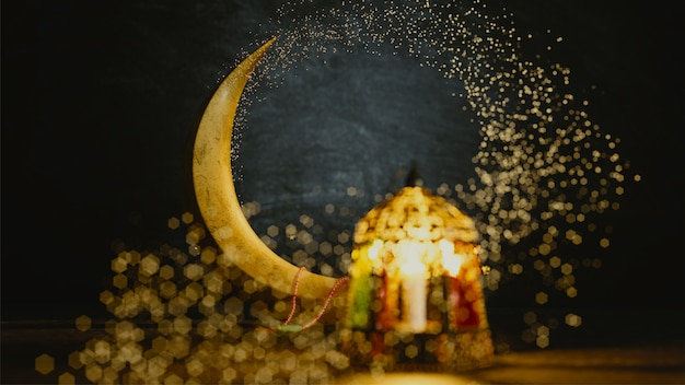 3d render of crescent moon with bokeh effect