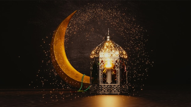3d render of crescent moon with glitter effect