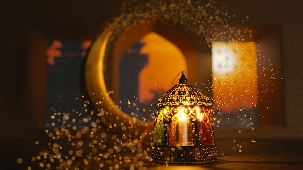 3d render of crescent moon with illuminated lantern
