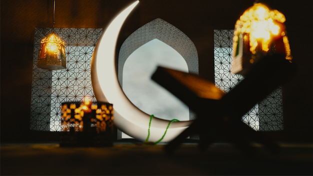 3d render of crescent moon with illuminated lanterns and rehal