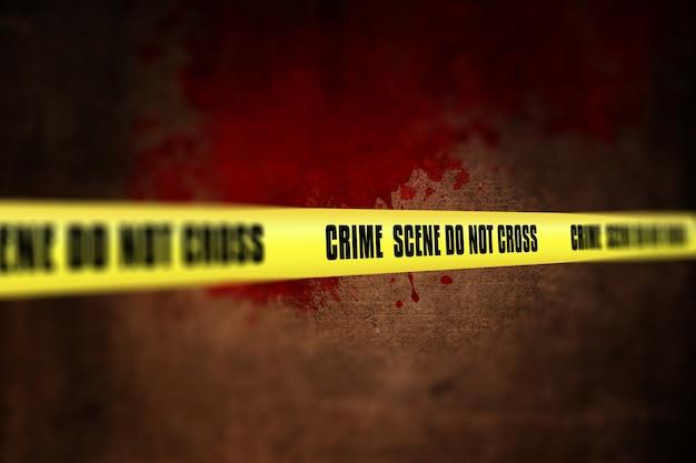 Rendering 3d di un nastro scena del crimine contro lo sfondo defocussed