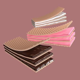 3d render crispy wafers with cream