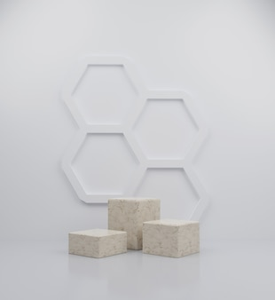 3d render cube marble podium collection abstract background illustration with honeycomb background