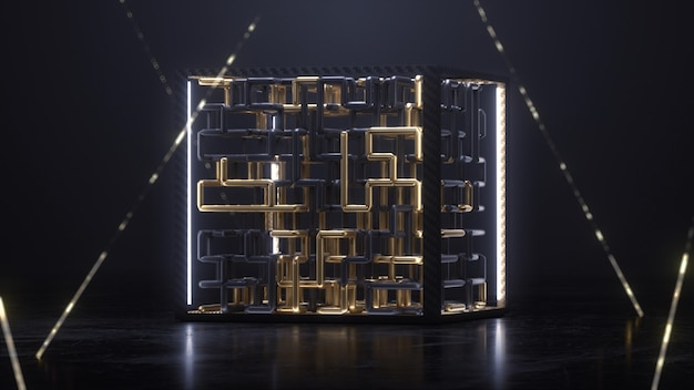 3d render cube with gold and black maze animation inside