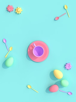 3d render of a cup with sweets and eggs,
