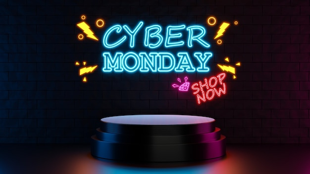 3d render of cyber monday with podium for product display