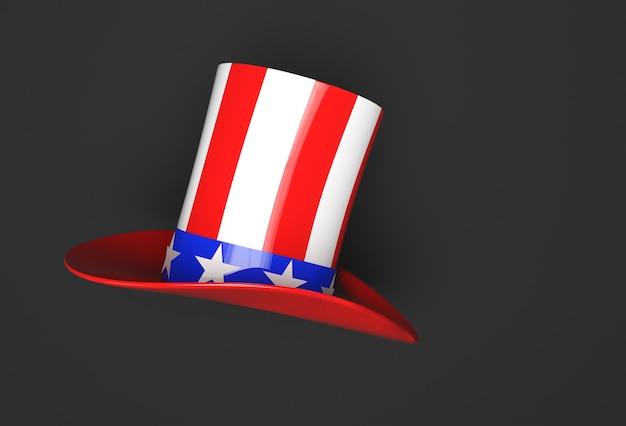 3d визуализация цилиндр шляпа значок 3d стиль. 4 июля концептуальный дизайн.