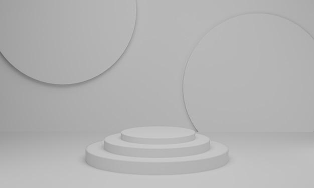 3d 렌더링. 흰색 배경에 실린더 연단 형상으로 추상 최소한의 장면입니다.
