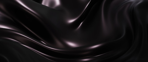 3d render of dark and black silk. iridescent holographic foil. abstract art fashion background.