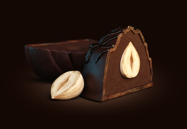 3d render of dark chocolate candies with dark truffle filling and whole hazelnut inside