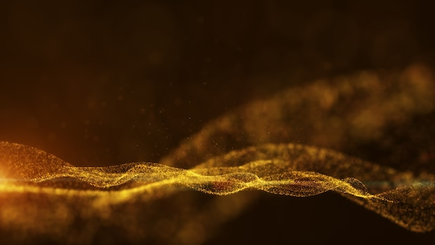 3d render dark gold and glow dust particles abstract background