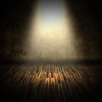 3d render of a dark interior with spotlight shining down