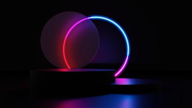 3d는 네온 빛나고 투명한 유리 고리가 있는 짙은 보라색과 분홍색 플랫폼을 렌더링합니다. 제품 디자인 쇼를 위한 빈 공간이 있는 기하학적 모양 구성.