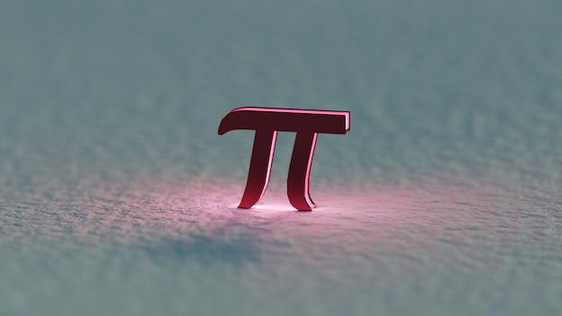 3d визуализация темно-красный символ пи