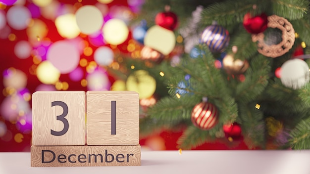 3dレンダリング。 12月31日、木製ブロックカレンダーの美しい新年とクリスマスの壁の日付。
