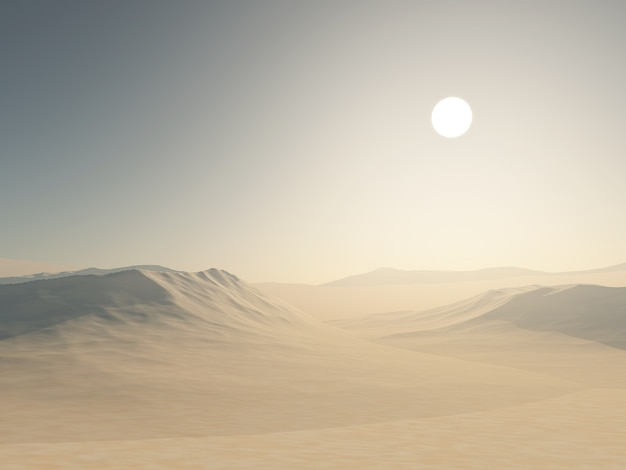 Rendering 3d di un paesaggio desertico con dune di sabbia
